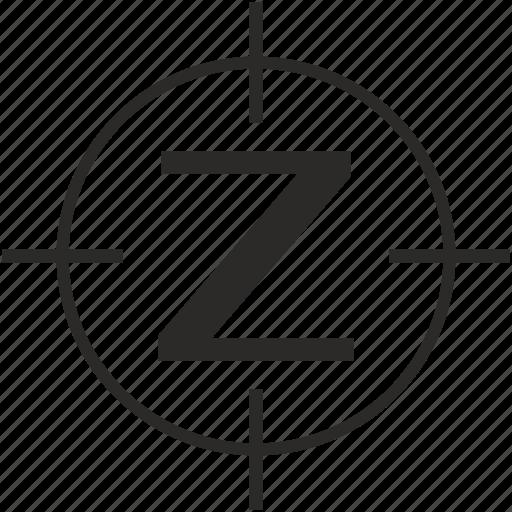 key, latin, letter, target, z icon