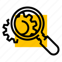 cog, gear, research, search, settings icon