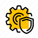 admin, cog, gear, settings, setup, shield icon