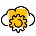 cloud, cog, gear, settings, setup icon