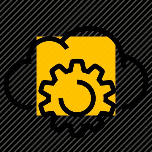 cloud, cog, gear, settings, setup icon