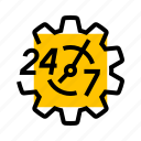 24/7, emergency, gear, service, settings, support icon