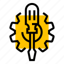 cog, gear, repair, screwdriver, settings, system icon