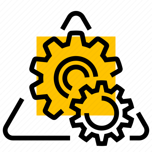 cogs, gears, sign, warning icon
