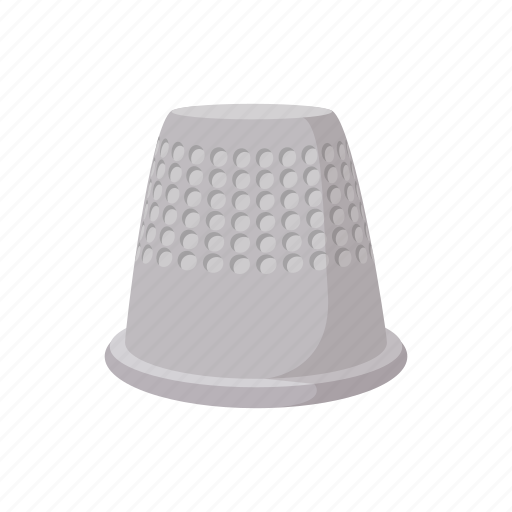 cartoon, craft, metal, needle, sewing, tailor, thimble icon