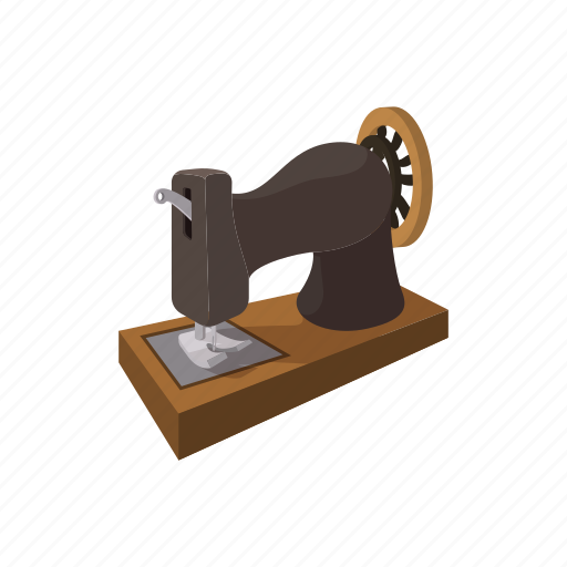 cartoon, craft, machine, old, retro, sewing, thread icon