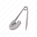 metal, needle, open, pin, safety, shiny, tool icon