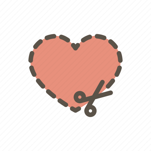 cut, heart, needlework, patch, scissors, sewing, tailoring icon