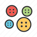 buttons, clothing, colorful, fashion, set, sewing, tailor icon