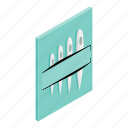 isometric, made, needle, pin, set, steel, threading icon