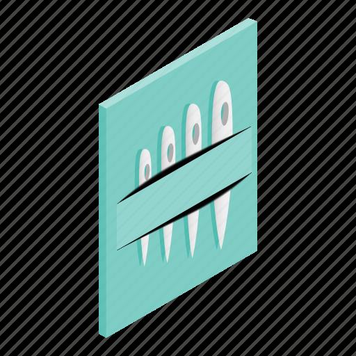 isometric, made, needle, pin, set, steel, threading icon