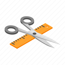 isometric, rule, ruler, scale, scissor, shears, straightedge icon