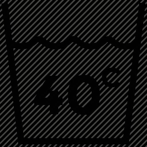 care, fabric, forty degree, laundry symbol, wash care, washing symbols icon