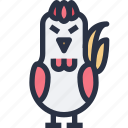 animal, chicken, colored, sharp edge
