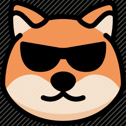 cool, dog, emoji, emotion, expression, face, feeling icon