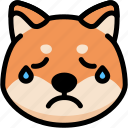 cry, emoji, emotion, expression, face, feeling, shiba icon