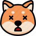 dead, emoji, emotion, expression, face, feeling, shiba icon