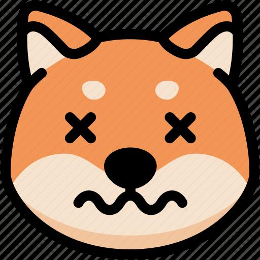 dead, dog, emoji, emotion, expression, face, feeling icon