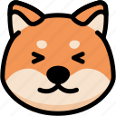 emoji, emotion, expression, face, feeling, happy, shiba icon