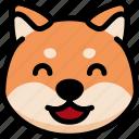 emoji, emotion, expression, face, feeling, happy, shiba