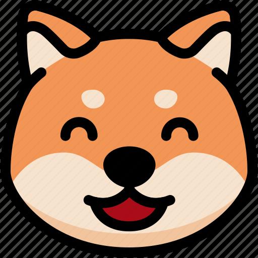emoji, emotion, expression, face, feeling, happy, shiba icon
