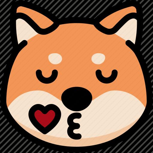 emoji, emotion, expression, face, feeling, kiss, shiba icon