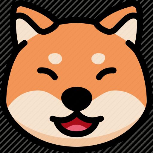 emoji, emotion, expression, face, feeling, laughing, shiba icon