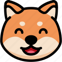 emoji, emotion, expression, face, feeling, laughing, shiba icon