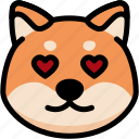 emoji, emotion, expression, face, feeling, love, shiba