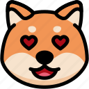 emoji, emotion, expression, face, feeling, love, shiba icon