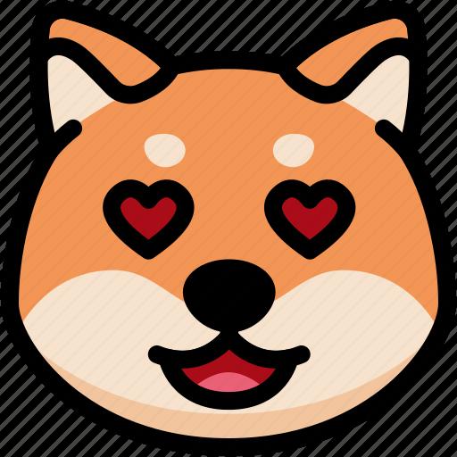 emoji, emotion, expression, face, feeling, love, shiba icon