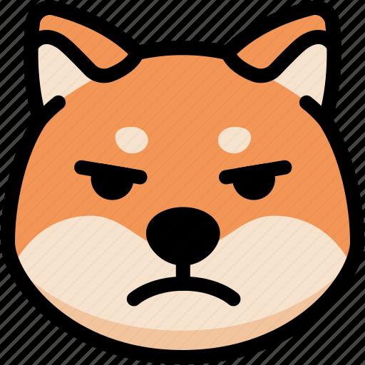 emoji, emotion, expression, face, feeling, mad, shiba icon