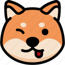 emoji, emotion, expression, face, feeling, naughty, shiba icon