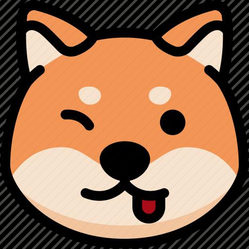 emoji, emotion, expression, face, feeling, naughty, shiba icon