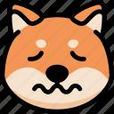 emoji, emotion, expression, face, feeling, nervous, shiba icon