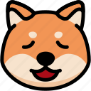emoji, emotion, expression, face, feeling, relax, shiba icon
