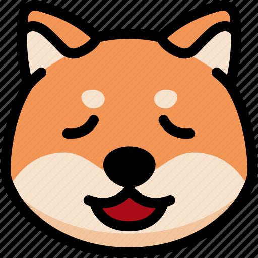 emoji, emotion, expression, face, feeling, relax, shiba icon
