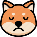 emoji, emotion, expression, face, feeling, sad, shiba icon