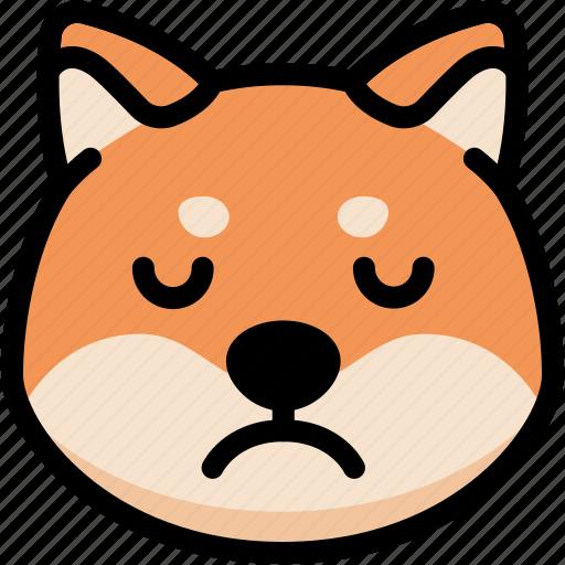 emoji, emotion, expression, face, feeling, sad, shiba icon