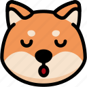 emoji, emotion, expression, face, feeling, shiba, sleeping icon