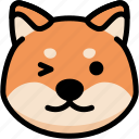 emoji, emotion, expression, face, feeling, shiba, smile icon