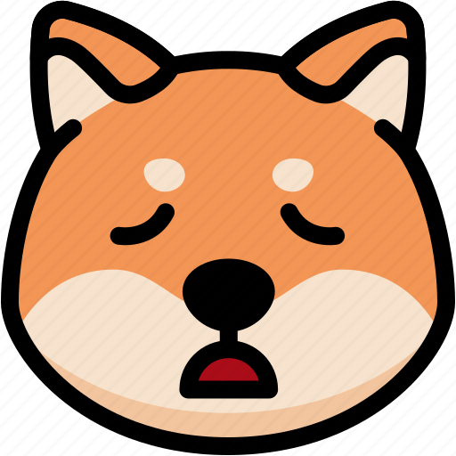 emoji, emotion, expression, face, feeling, shiba, tried icon