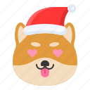 christmas, dog, emoticon, love, shiba icon