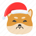 christmas, dog, emoticon, shiba, upset icon