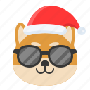 christmas, dog, sunglasses, emoticon, shiba