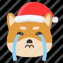 christmas, cry, dog, emoticon, shiba icon