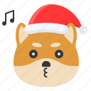 christmas, dog, emoticon, shiba, smile icon