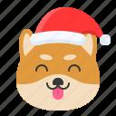 christmas, dog, emoticon, shiba, smile