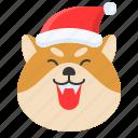 christmas, dog, emoticon, happy, pleased, shiba icon