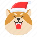 christmas, dog, emoticon, happy, pleased, shiba